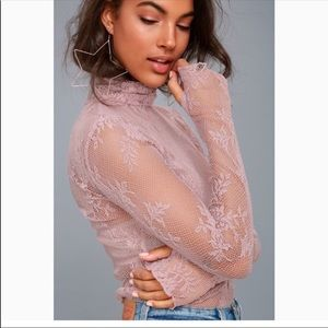 Free People Sweet Secrets Lace Turtleneck